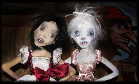 Two ghost dolls enemies, Annabel Lee and Ratgirl from Ravensbreath