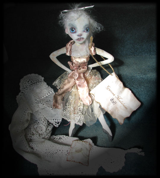 Ratgirl ghost doll with card and travelling sack, from Ravensbreath