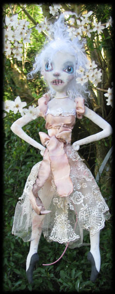Ratgirl Ravensbreath ghost doll in the plum tree blossoms
